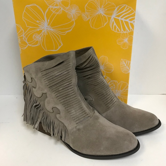 YELLOW BOX LETTY WOMEN/'S BLACK SUEDE LEATHER ANKLE BOOTS FRINGED BOOTIE WESTERN